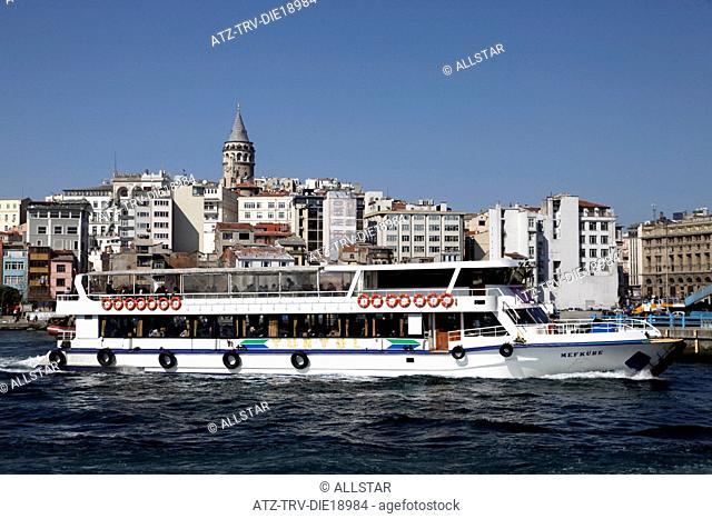 FERRY, GALATA TOWER & BEYOGLU; BEYOGLU, ISTANBUL, TURKEY; 27/03/2012
