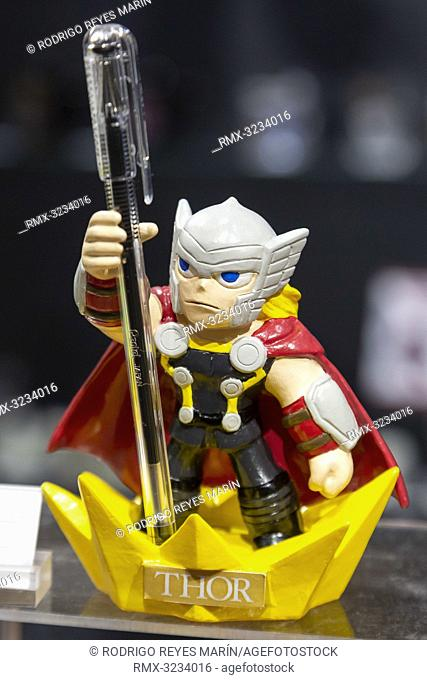 February 13, 2019, Tokyo, Japan - A penholder shaped Marvel Comics' Thor God of Thunder on display during the 87th Tokyo International Gift Show (TIGS) Spring...