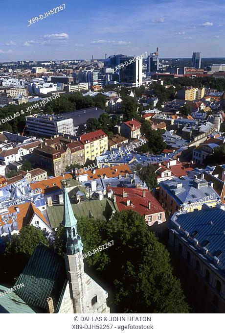 Old and New Skyline from Toompea, Old Town, Tallinn, Estonia