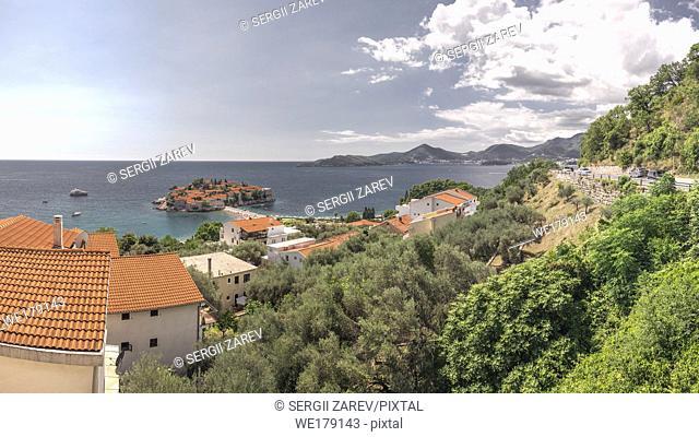 Sveti Stefan island in Montenegro, luxury hotel on the Adriatic sea