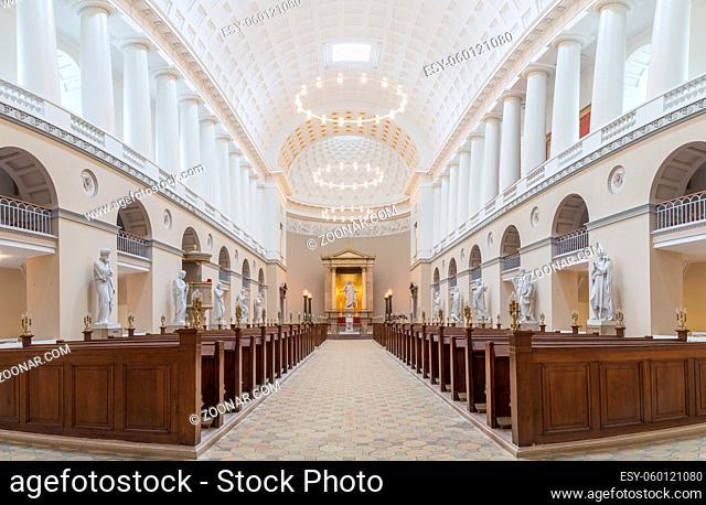 Copenhagen, Denmark - August 3, 2016: Interior view of Vor Frue Cathedral