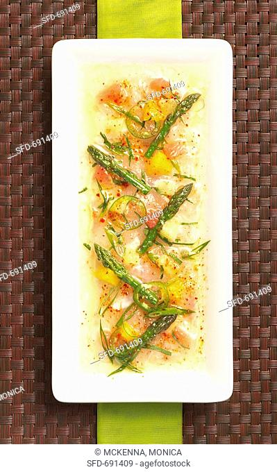 Freshwater Ceviche of Crappie Fish, Asparagus and Citrus fruit