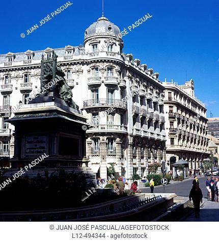 Isabella the Catholic Square and Gran Via de Colón, Granada. Andalusia, Spain
