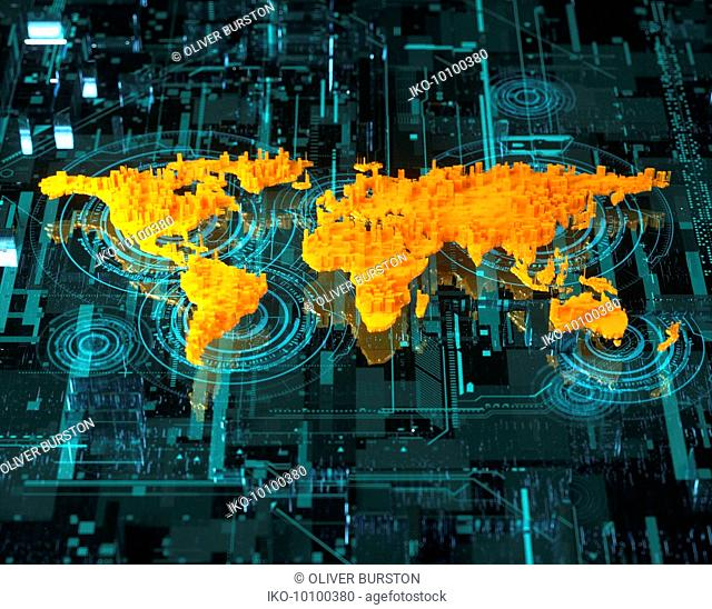 Three dimensional world map over high tech circuit board