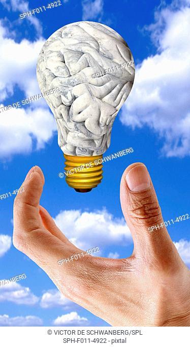 Human brain in the shape of a lightbulb, computer artwork