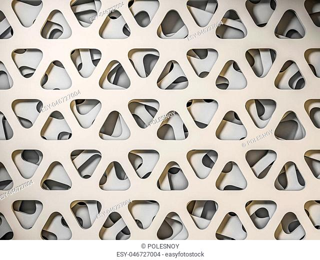 White triangular abstract background, Grunge surface. 3D rendering