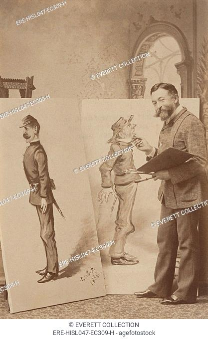 Thomas Nast with caricatures of Union and Confederate soldiers in 1888. The smiling artist, tweaks the chin of the almost life size Confederate soldier