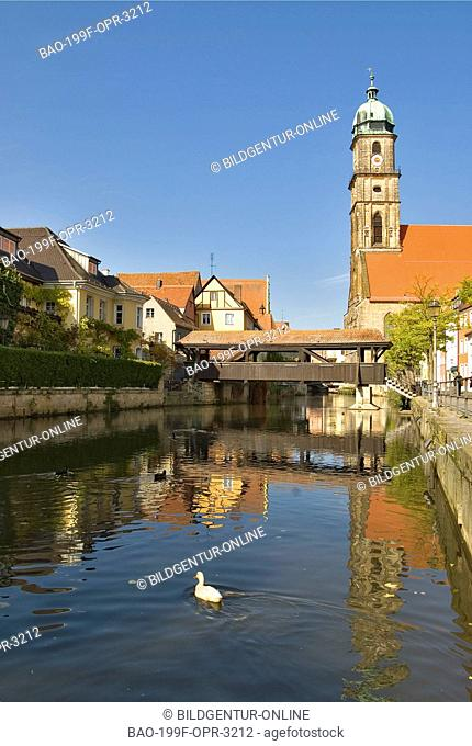 View at the Old Town and the St. Martin Church of Amberg in Bavaria, Southern Germany