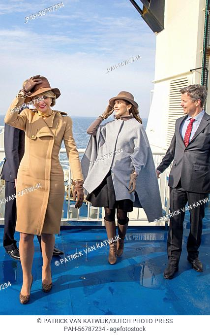 King Willem-Alexander and Queen Maxima (front) of The Netherlands and Crown Prince Frederik (R) and Crown Princess Mary (back) of Denmark visit Samso Island