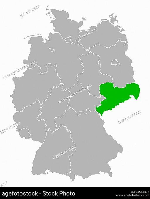 Karte von Sachsen in Deutschland - Map of Saxony in Germany