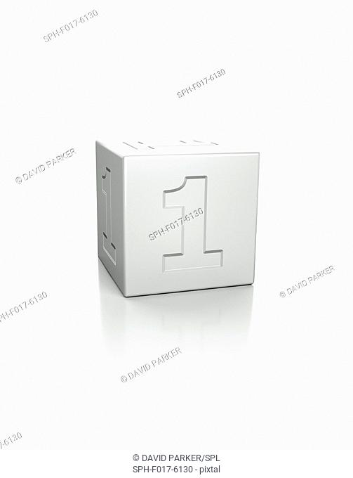 Cube with the number 1 embossed