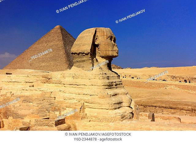 The Great Sphinx and the Pyramid of Cheops, Giza, Egypt
