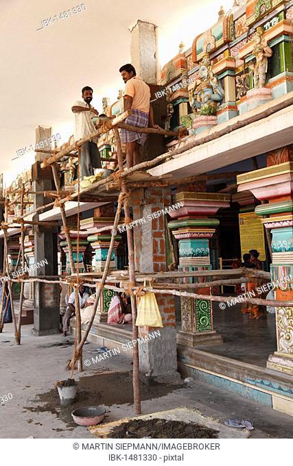 Renovation work, Bannari Amman Temple, Tamil Nadu, Tamilnadu, South India, India, South Asia, Asia