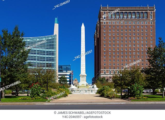 New US Courthouse and old Statler Hotel Building on Niagara Square in Buffalo New York