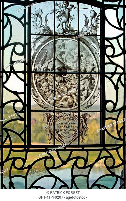 STAINED-GLASS WINDOW IN THE CHATEAU OF CHAUMONT-SUR-LOIRE, LOIR-ET-CHER 41, FRANCE