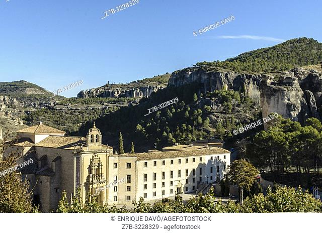 View of Convento de San Pablo, old monastery now turned into a Parador Nacional (State run hotel). Cuenca, Spain