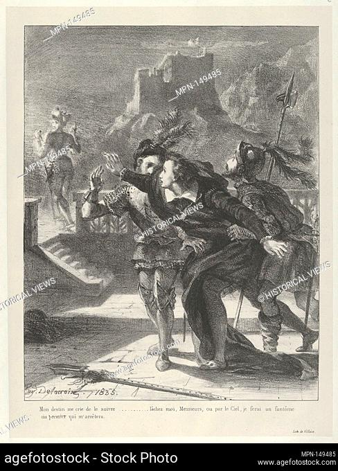 Hamlet Tries To Follow His Father's Ghost. Series/Portfolio: Hamlet, Treize Sujets Dessinés par Eug. Delacroix [Hamlet, Thirteen Subjects Drawn by Eug