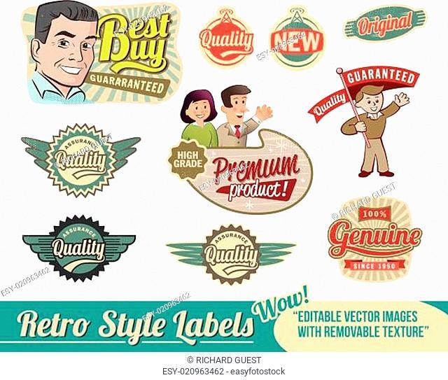 Vintage Retro Labels - editable vector images