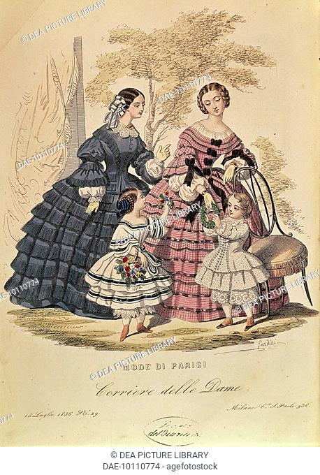 Fashion, France, 19th century. Women's fashion plate depicting ladies and girls dresses. From Mode di Parigi, Corriere delle Dame, July 15, 1856