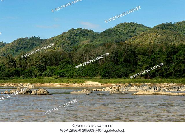 View of the Mekong River and landscape on the way to Pak Ou Cave near Luang Prabang in Central Laos