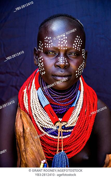 A Portrait Of A Young Woman From The Karo Tribe, Kolcho Village, Omo Valley, Ethiopia