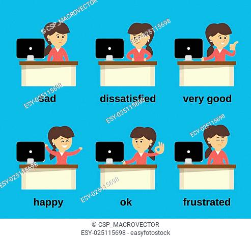 Businesswoman working emotions set