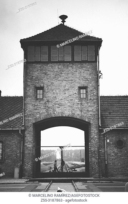 Auschwitz II Birkenau, Nazi concentration and extermination camp. Main entrance to Auschwitz II - Birkenau. Auschwitz, German-occupied, Poland, Europe