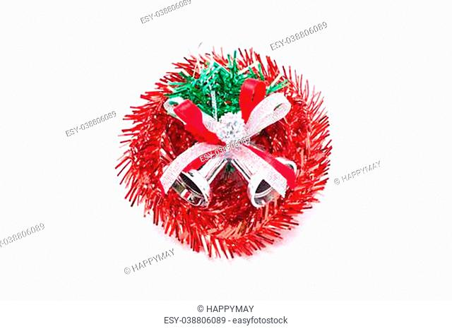 Red christmas wreath with silver bells