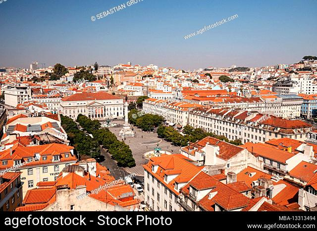 View of downtown Lisbon, Portugal, Europe