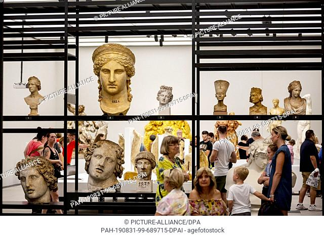 """31 August 2019, Berlin: At the Long Night of the Museums in the James Simon Gallery, visitors can take a look at the exhibition """"""""Close to Life - 200 Years of..."""