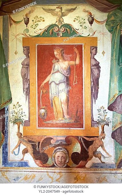 Room of Glory (Stanza della Gloria ). The Renaissance paintings by Federico Zuccari can be dated to 1566-68. . Villa d'Este, Tivoli, Italy