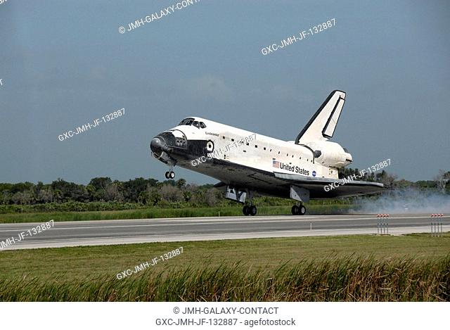Space Shuttle Endeavour approaches landing Runway 15 of the Shuttle Landing Facility at NASA's Kennedy Space Center, concluding the 16-day, 6