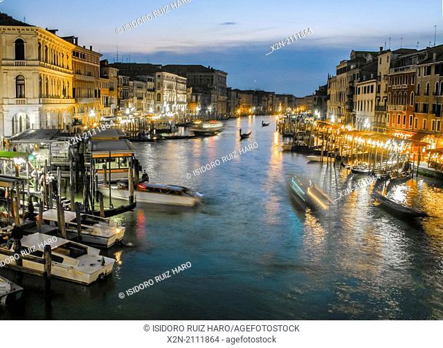 Night view of Grand Canal from Rialto bridge. Venice. Veneto. Italy