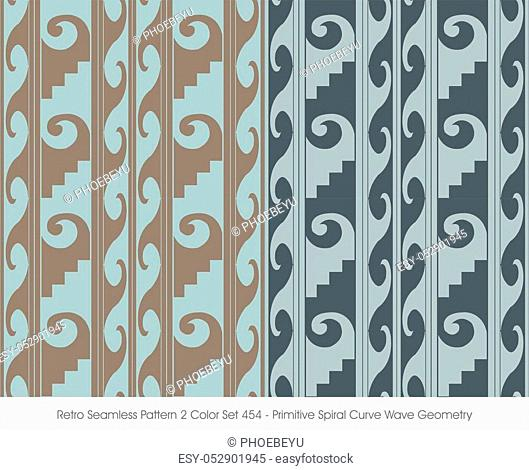 Retro Seamless Pattern Primitive Spiral Curve Wave Geometry