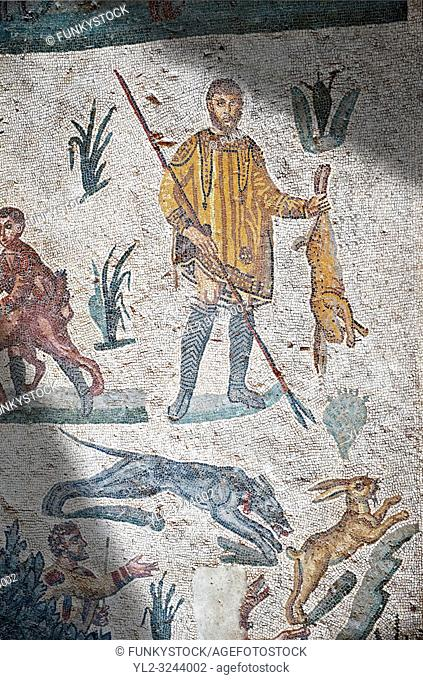 Hunters hunting. Roman mosaic floor of the Room of The Small Hunt, no 25 - Roman mosaics at the Villa Romana del Casale