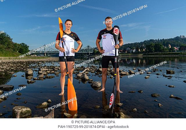 25 July 2019, Saxony, Dresden: Steffi Kriegerstein, Olympic silver medallist in canoeing, and Tom Liebscher, Olympic champion in canoeing