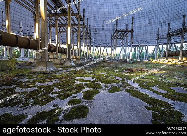 Inside the cooling tower of Chernobyl Nuclear Power Plant in Zone of Alienation around the nuclear reactor disaster in Ukraine