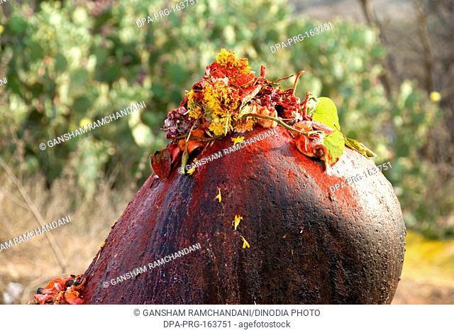 Flowers on shivlinga on mahashivaratri celebration at Keesaragutta ; Hyderabad ; Andhra Pradesh ; India NO PR