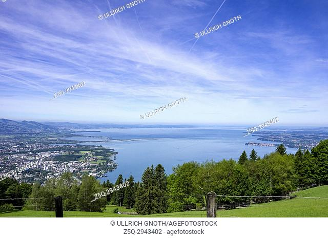 View across Lake Constance to Bregenz and Lindau, as seen as from the Pfänder, Vorarlberg, Austria