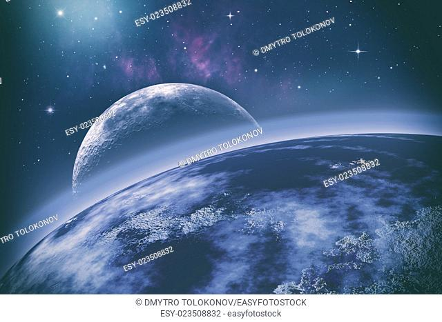 Earth orbit. Universe. Abstract science backgrounds. NASA imagery used