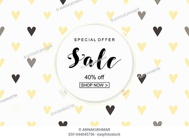 Poster for the celebration of Valentine's Day. Holiday Sale. Creative design
