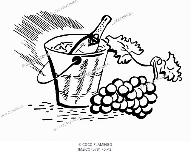 A black and white version of a vintage illustration of a bottle of wine and fresh grapes