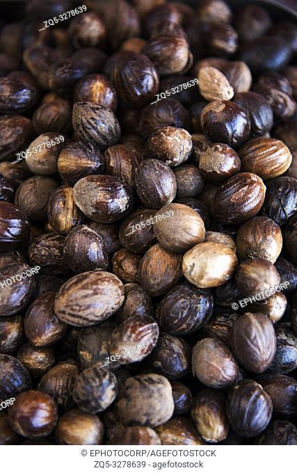 Top angle view of nutmeg spice, Dubai, UAE