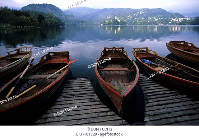 Lake Bled with the famous gondolas, Slovenia