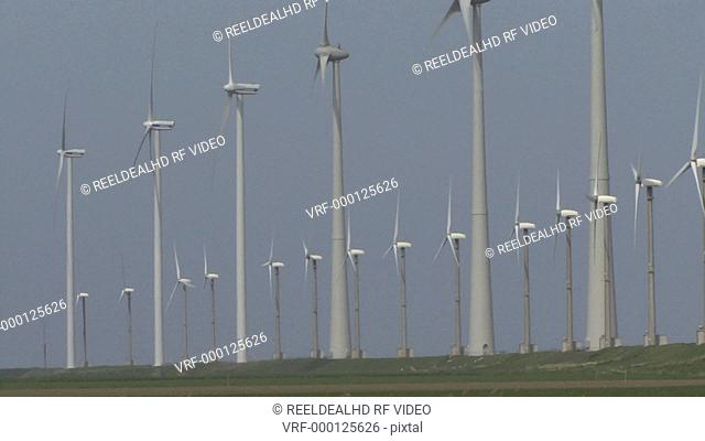 WS PAN OF ROWS OF WIND TURBINES