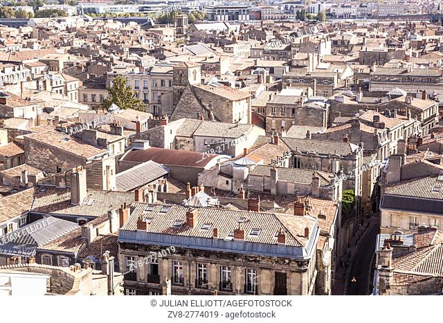 Looking out over the city of Bordeaux from the Tour Pey-Berland, France