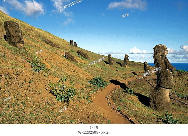 Chile, Rano Raraku extinct volcano and quarry, moais birthplace, Easter Island, Rapa Nui National Park, South America