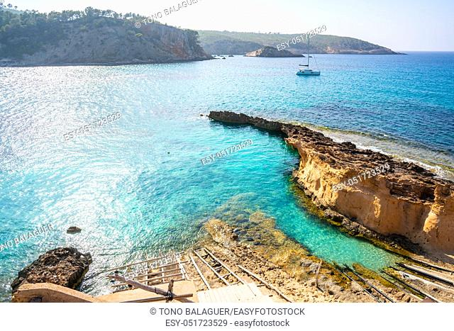 Ibiza Cala Xarraca in Sant Joan of Balearic Islands
