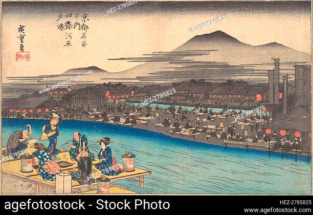 Cooling off in the Evening at Shijogawara, ca. 1834., ca. 1834. Creator: Ando Hiroshige
