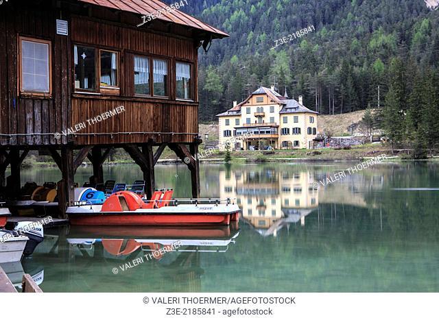 Lago di Dobbiaco alias Toblacher See in Dolomite Alps, South Tirol, Italy